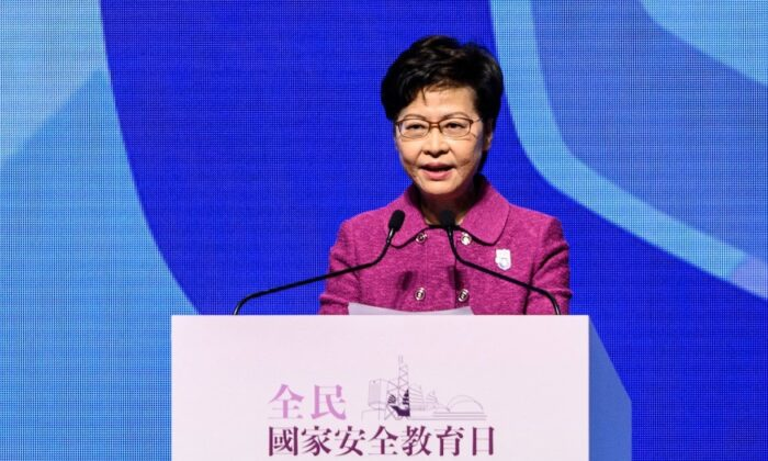 Hong Kong Chief Executive Carrie Lam delivers a speech during the National Security Education Day Opening Ceremony at the Hong Kong Convention Centre in Hong Kong on April 15, 2021. (Anthony Wallace/AFP via Getty Images)
