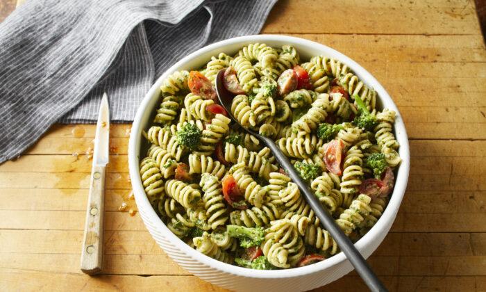 Broccoli, tomatoes and pesto liven up pasta salad. (Brie Passano/TNS)