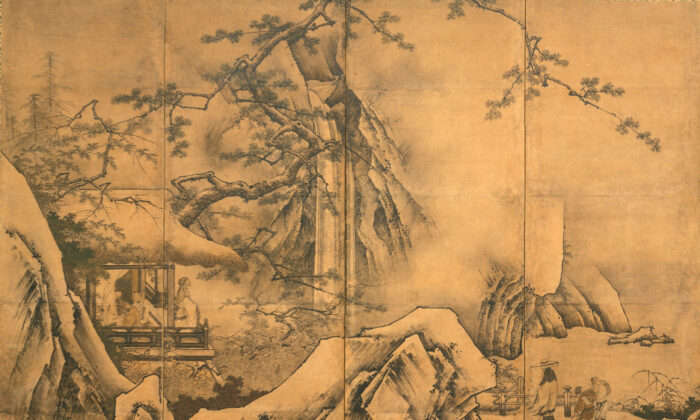 """Detail from """"The Four Accomplishments,"""" mid-16th century by Kano Motonobu. Six Panel Folding Screen, ink and color on paper. The Metropolitan Museum of Art, New York. (Public Domain)"""