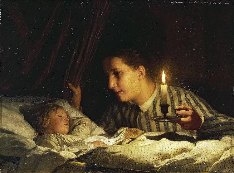 young-mother-contemplating-her-sleeping-child-in-candlelight-1875.jpg!Large