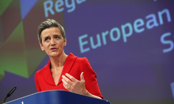 Europeaan Commission Vice Presidents Margrethe Vestager speaks during a joint news conference with Valdis Dombrovskis (not pictured), and EU Commissioner for Internal Market Thierry Breton (not pictured) in Brussels, Belgium, on May 5, 2021. (Yves Herman/Reuters)
