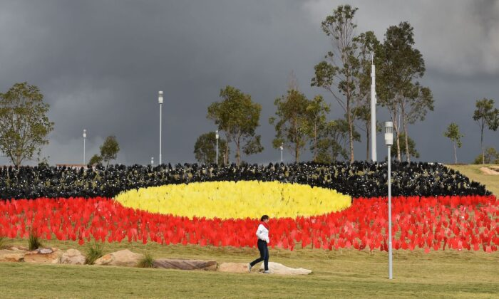Part of National Reconciliation Week 2016, the installation is for Australians to reflect on Australias national identity and the place of Aboriginal and Torres Strait Islander histories and cultures in the nation's story. (William West /AFP via Getty Images)