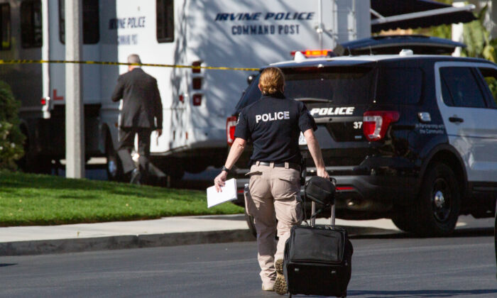 A crime scene is marked by the Irvine Police Department in Irvine, Calif., on May 5, 2021. (John Fredricks/The Epoch Times)
