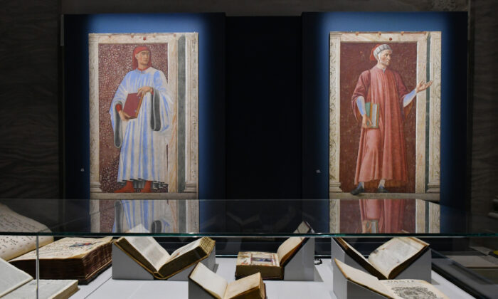 """Portraits of  Italian literary greats (L) Giovanni Boccaccio and Dante, by Andrea del Castagno and texts by Dante or inspired by him are among some of the around 300 works at the """"Dante: The Vision of Art"""" exhibition. (Fabio Blaco/The Uffizi Galleries)"""
