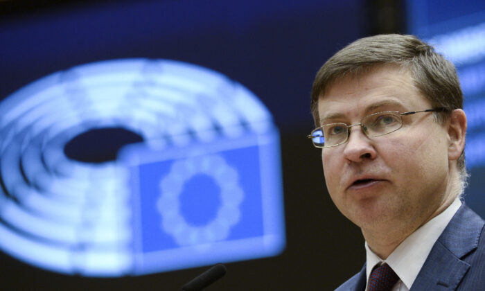 European Commission Vice-President Valdis Dombrovskis speaks during a plenary session at the European Parliament in Brussels on March 10, 2021. (Johanna Geron/POOL/AFP via Getty Images)