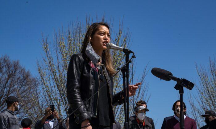 Georgia State Rep. Bee Nguyen speaks to demonstrators in Atlanta on March 20, 2021. (Megan Varner/Getty Images)