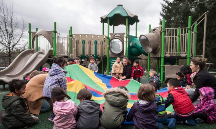 Children play at a daycare in Coquitlam, B.C., Canada, on March 28, 2018. (Darryl Dyck/The Canadian Press)