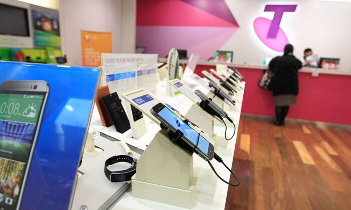 Mobile phones products and on display in a Telstra retail store in Sydney on July 24, 2014, in Sydney, Australia. (James Alcock/Getty Images)