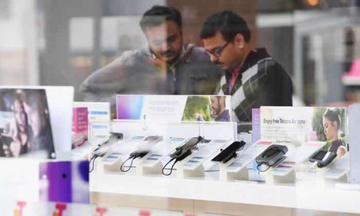 MELBOURNE, AUSTRALIA - JUNE 14:  Telstra phones are seen outside the Telstra Melbourne headquarters on June 14, 2017 in Melbourne, Australia. (Photo by Michael Dodge/Getty Images)