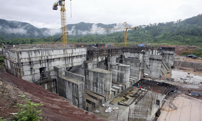 The regulating dam of the Nam Theun 2 power dam under construction is pictured in Laos' Nakai plateau on June 28, 2007. (Hoang Dinh Nam/AFP via Getty Images)