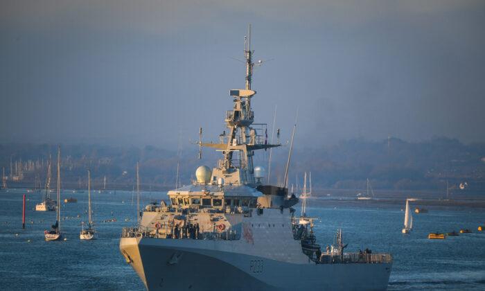 HMS Tamar leaves Portsmouth, England, on Dec. 31, 2020. (Finnbarr Webster/Getty Images)