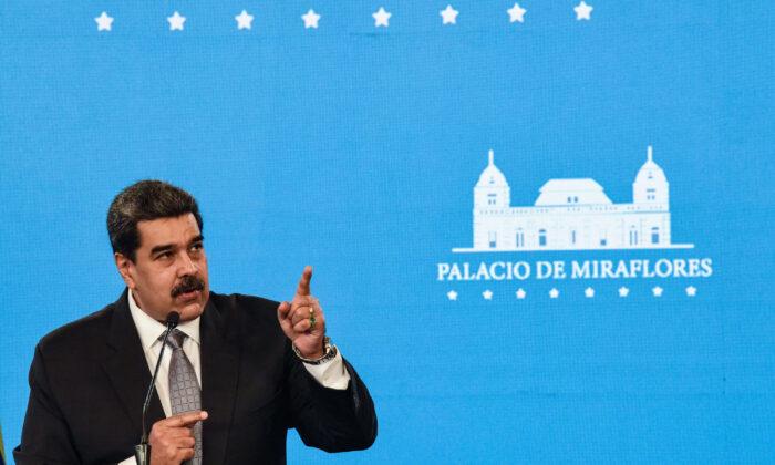 Venezuelan regime leader Nicolas Maduro speaks in a press conference in Miraflores Palace in Caracas, Venezuela, on Feb. 17, 2021. (Carolina Cabral/Getty Images)