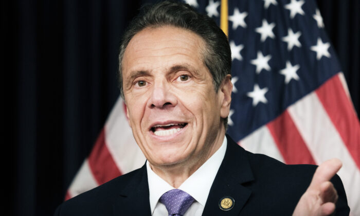 New York Gov. Andrew Cuomo speaks to the media at a news conference in Manhattan in New York City on May 5, 2021. (Spencer Platt/Getty Images)