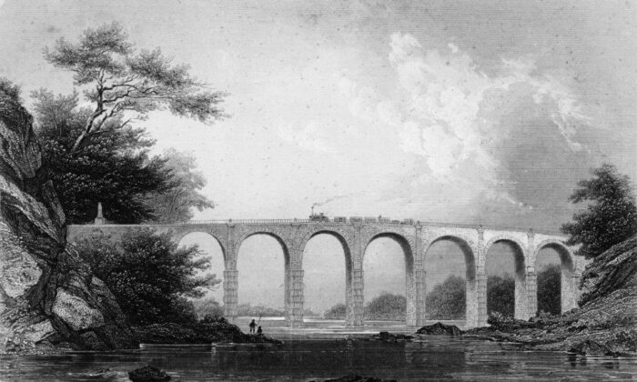 """Benjamin Henry Latrobe II's Thomas Viaduct from """"The United States Illustrated,"""" circa 1853, by Charles A. Dana. (Public Domain, Republished by Library of Congress)"""