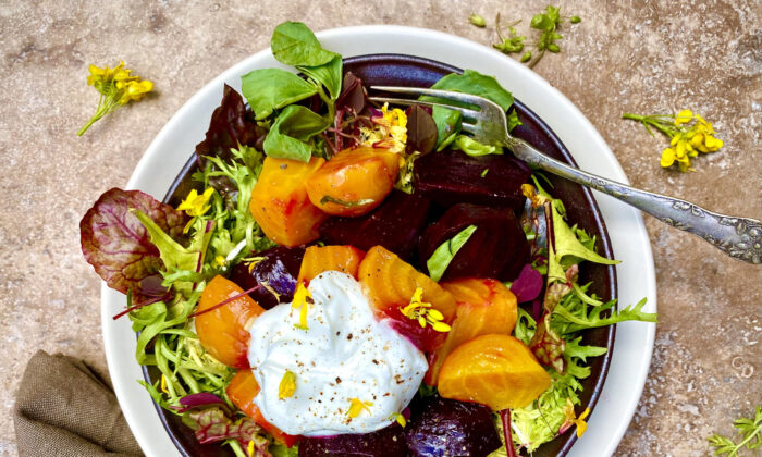 Dollop savory whipped ricotta on this roasted beet and spring greens salad. (Lynda Balslev for Tastefood)