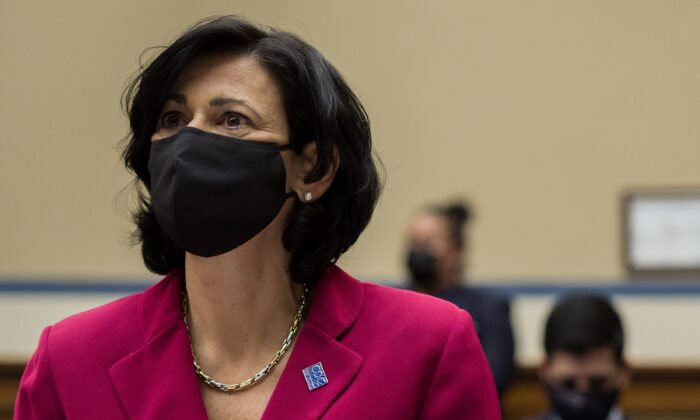 Dr. Rochelle Walensky, director of the Centers for Disease Control and Prevention, is seen during a congressional hearing in Washington on April 15, 2021. (Amr Alfiky/Pool/Getty Images)