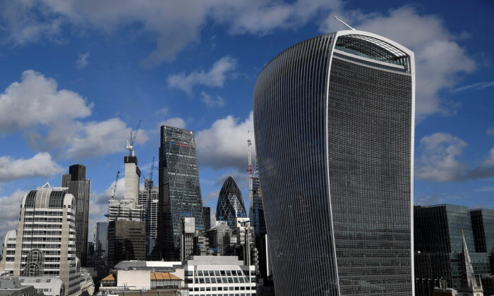 The City of London financial district is seen with office skyscrapers commonly known as 'Cheesegrater,' 'Gherkin,' and 'Walkie Talkie' in London on Jan. 25, 2018. (Toby Melville/File/Reuters)