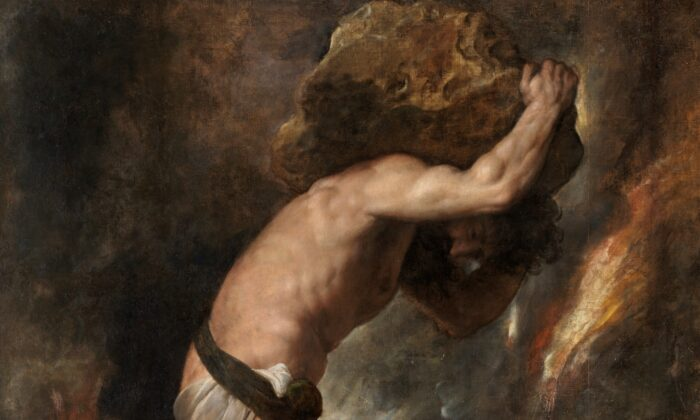 """A detail from Titian's """"Sisyphus."""" Oil on Canvas, 93.3 inches by 85 inches. Prado Museum, Madrid, Spain. (Public Domain)"""