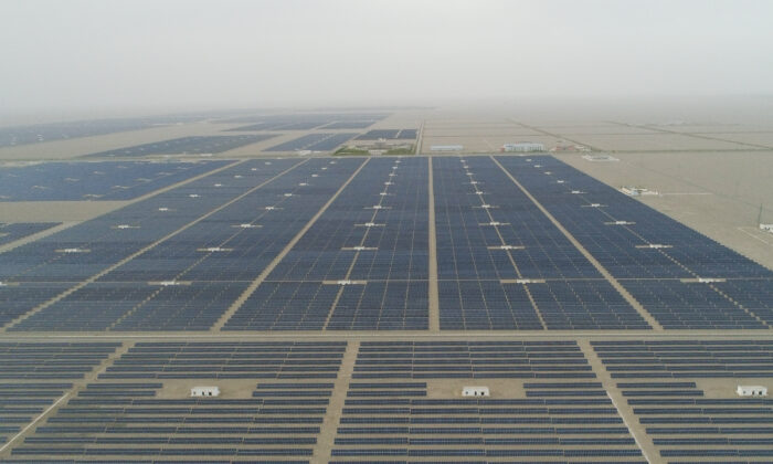 A general view of the solar modules of a newly installed 100MW photovoltaic on-grid power project in Dunhuang, China, on April 23, 2019. (Lintao Zhang/Getty Images)