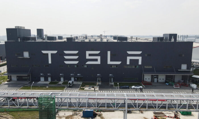 An aerial view of Tesla Shanghai Gigafactory in Shanghai, China on March 20, 2021. Tesla Shanghai Gigafactory is reportedly producing vehicles at a rate of about 450,000 cars per year. (Xiaolu Chu/Getty Images)