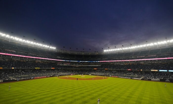 The Houston Astros play the New York Yankees during the third inning of a baseball game in New York on May 4, 2021. (Frank Franklin II/AP Photo)