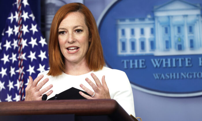 White House Press Secretary Jen Psaki speaks during a daily press briefing at the James Brady Press Briefing Room of the White House in Washington on May 5, 2021. (Alex Wong/Getty Images)