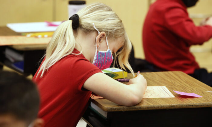 A student at a school in Provo, Utah, on Feb. 10, 2021. (George Frey/Getty Images)