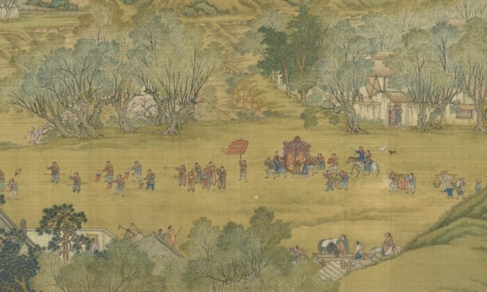 """A detail from the handscroll """"Up The River During the Qingming"""" of the Ming Dynastry shows a groom collecting his bride. (Courtesy of the National Palace Museum)"""