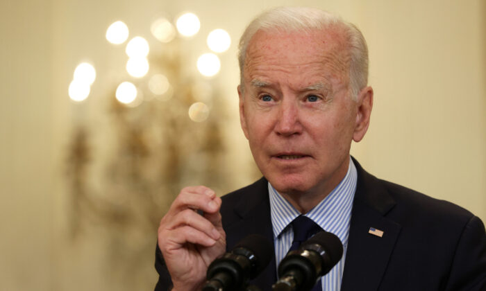 President Joe Biden speaks at a press conference at the White House on May 7, 2021. (Alex Wong/Getty Images)