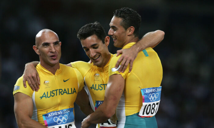 (L-R) Adam Basil, Patrick Johnson, and Joshua Roberts of Australia during the Athens 2004 Summer Olympic Games in Athens, Greece on Aug. 27, 2004. (Andy Lyons/Getty Images)