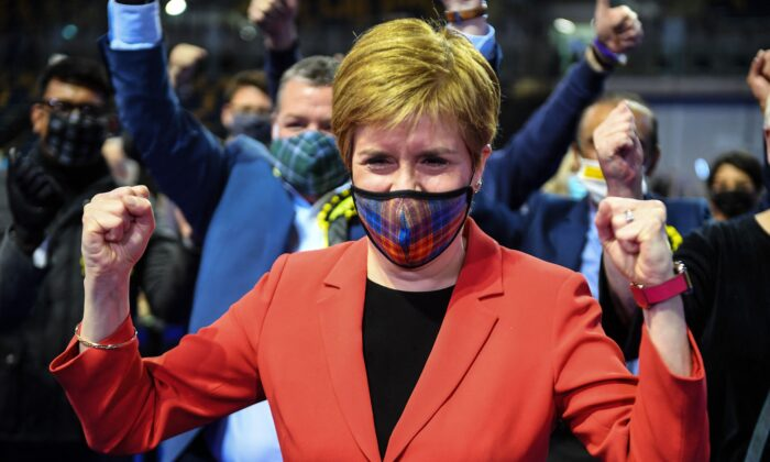 Scotland's First Minister and leader of the Scottish National Party (SNP) Nicola Sturgeon reacts after being declared the winner of the Glasgow Southside seat at Glasgow counting centre in the Emirates Arena in Glasgow, on May 7, 2021. (Andy Buchanan/AFP via Getty Images)