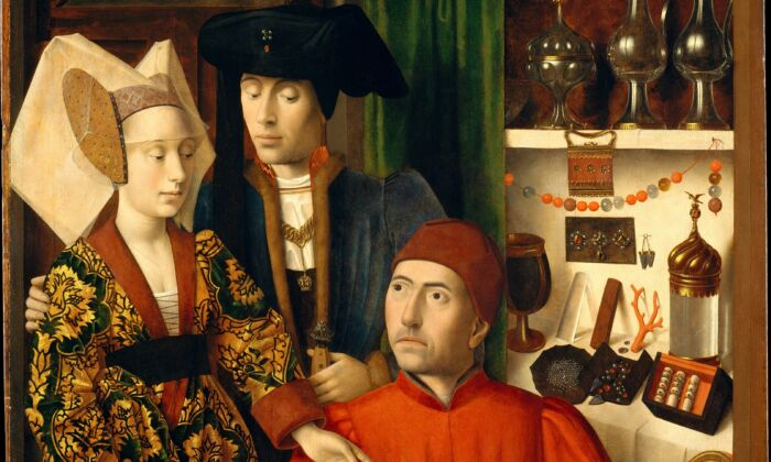 """A detail of the painting,""""A Goldsmith in His Shop,"""" 1449, byPetrus Christus.Oil on oak panel; 39 3/8 inches by 33 3/4 inches.Robert Lehman Collection, 1975; Metropolitan Museum of Art. (Public Domain)"""