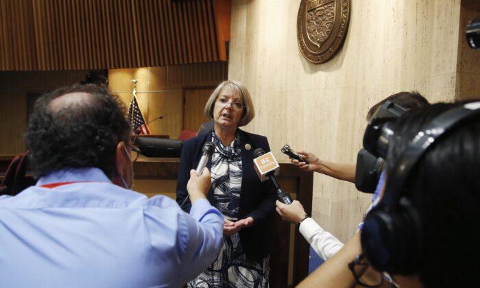 Arizona Senate President Karen Fann talks to reporters in Phoenix, Ariz., on May 26, 2020. (Ross D. Franklin/AP Photo)