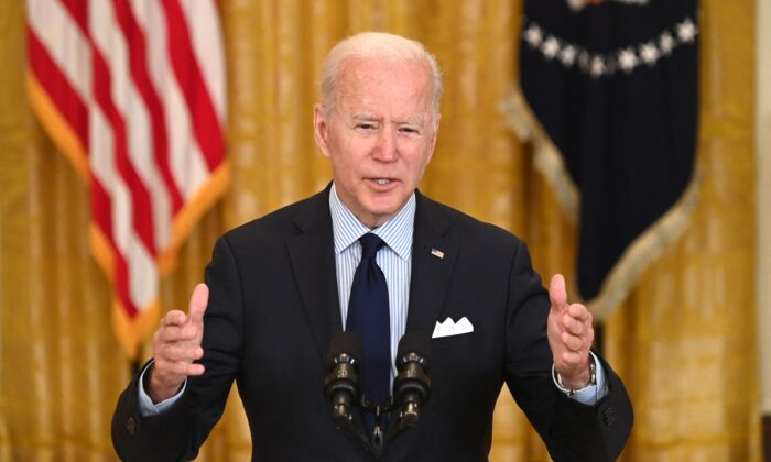 President Joe Biden speaks about the April jobs report in the East Room of the White House on May 7, 2021. (Saul Loeb/AFP via Getty Images)