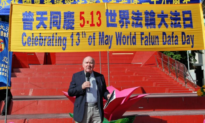 Peter Westmore, former president of the National Civic Council speaks at the World Falun Dafa Day event in Melbourne, Australia on May 8, 2021. (Chen Ming/Epoch Times)