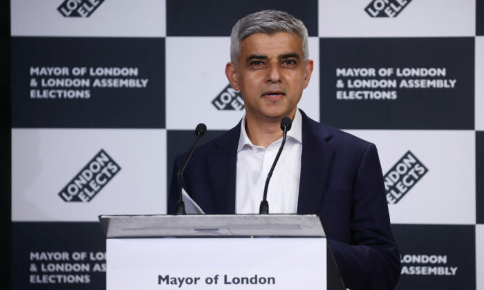 Mayor of London Sadiq Khan speaks after being re-elected in the London mayoral election, at the City Hall in London on May 8, 2021. (Henry Nicholls/Reuters)