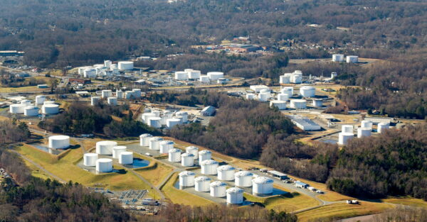 Holding tanks are seen at Colonial Pipeline's