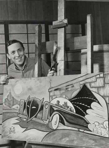 Bob Kane and batmobile poster