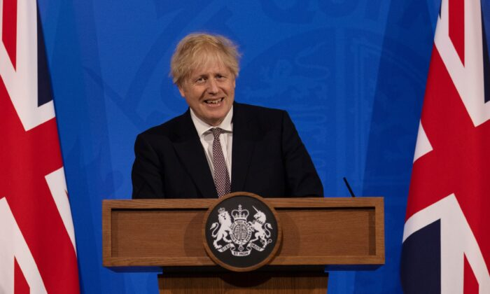 Britain's Prime Minister Boris Johnson attends a virtual press conference to announce changes to lockdown rules in England at Downing Street, London, on May 10, 2021. (Dan Kitwood-WPA Pool/Getty Images)