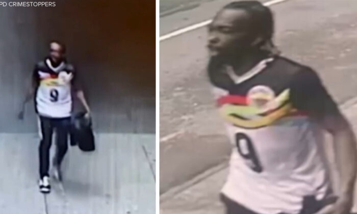 Stills from NYPD Crime Stoppers surveillance video show the suspect wanted in connection with a shooting in New York City, on May 8, 2021. (NYPD/Crime Stoppers)