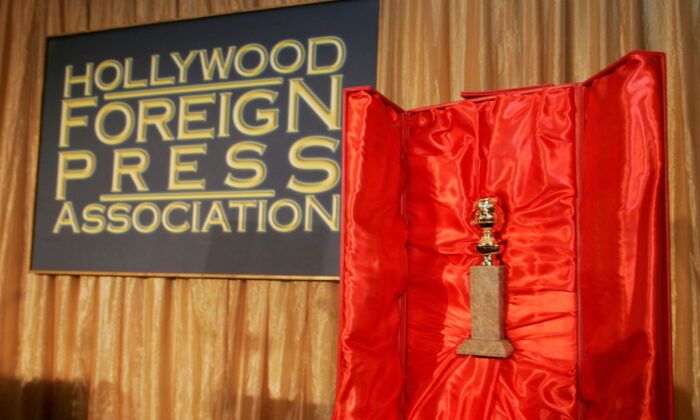The Hollywood Foreign Press Association's Golden Globe statuette is seen with its red velvet-lined, leather-bound chest during a news conference in Beverly Hills, Calif., on Jan. 6, 2009. (Fred Prouser/Reuters)