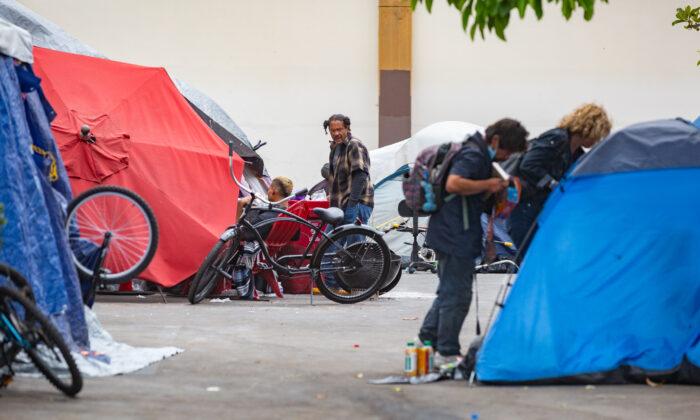 A homeless encampment off Ross Street in Santa Ana, Calif., on May 10, 2021. (John Fredricks/The Epoch Times)