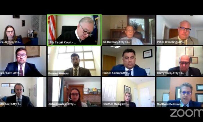 A screenshot of a remote hearing taking place in Bailey v. Antrim County on May 10, 2021. (13th Circuit Court/Screenshot via The Epoch Times)