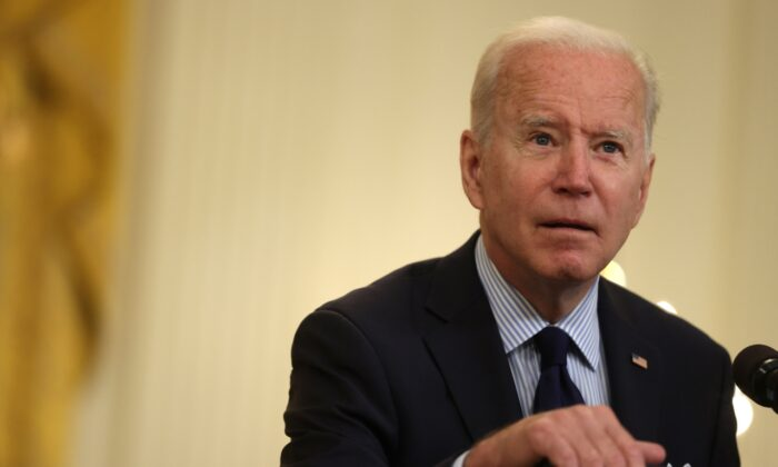 President Joe Biden speaks on job numbers from April, 2021 at the East Room of the White House in Washington on May 7, 2021. (Alex Wong/Getty Images)
