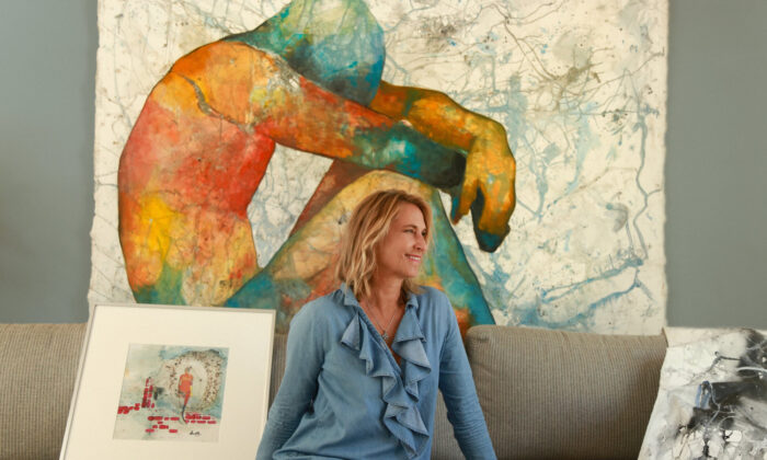 Artist Andrea Moni poses with her work, which is being featured in an Orange County Center for Contemporary Art exhibit. (Courtesy of Andrea Moni)