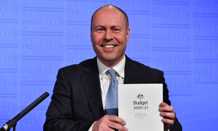 Federal treasurer Josh Frydenberg prior to his  budget address at the National Press Club on October 07, 2020 in Canberra, Australia.   (Sam Mooy/Getty Images)