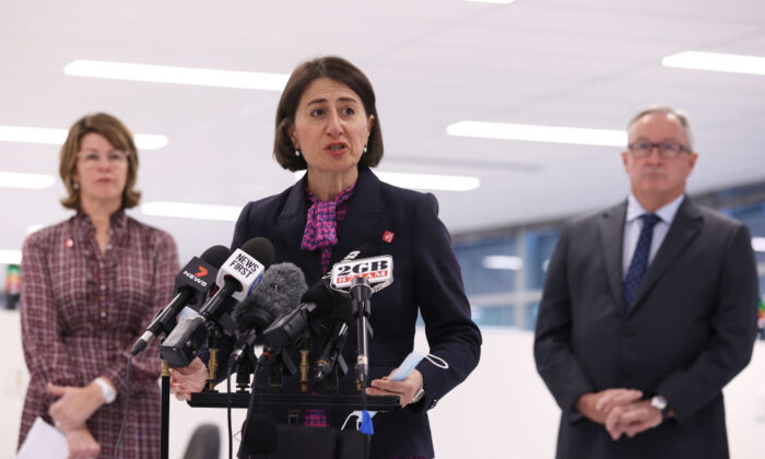 NSW Premier Gladys Berejiklian speaks to media during a press conference at a mass COVID-19 vaccination hub on May 10, 2021 in Sydney, Australia. (Mark Kolbe/Getty Images)