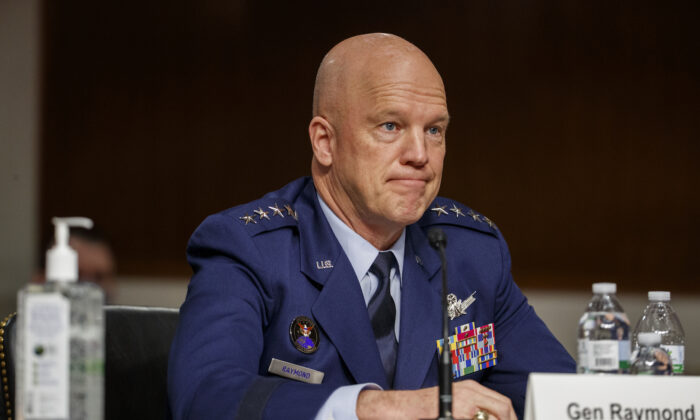 Chief of Space Operations at U.S. Space Force Gen.John W. Raymond testifies before the Senate Armed Services Committee on Capitol Hill in Washington on May 6, 2020. (Shawn Thew/Pool/Getty Images)
