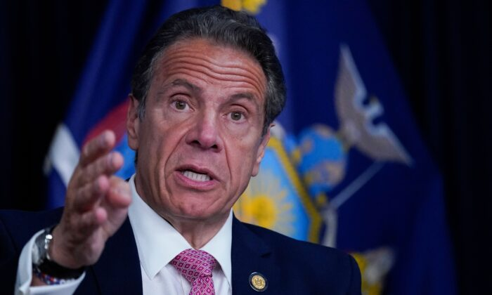 New York Gov. Andrew Cuomo speaks during a news conference in New York, on May 10, 2021. (Mary Altaffer/POOL/AFP via Getty Images)