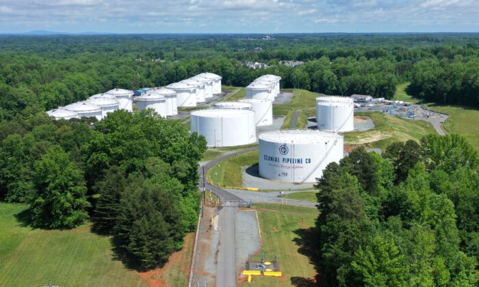 Holding tanks are seen in an aerial photograph at Colonial Pipeline's Charlotte Tank Farm in Charlotte, N.C., on May 10, 2021. (Drone Base/Reuters)